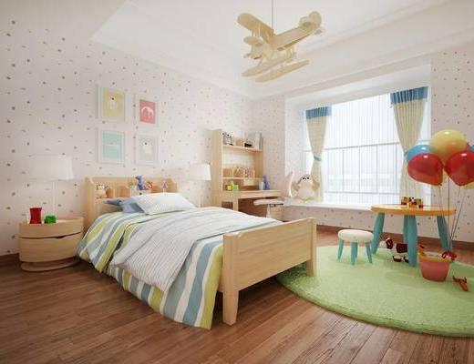 北欧儿童房, 儿童房, 单人床