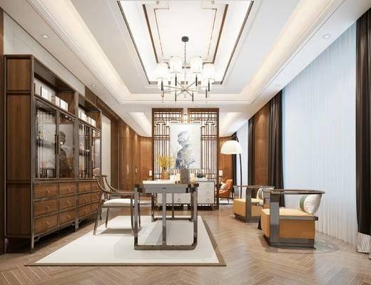 中式书房, 书房, 书桌椅