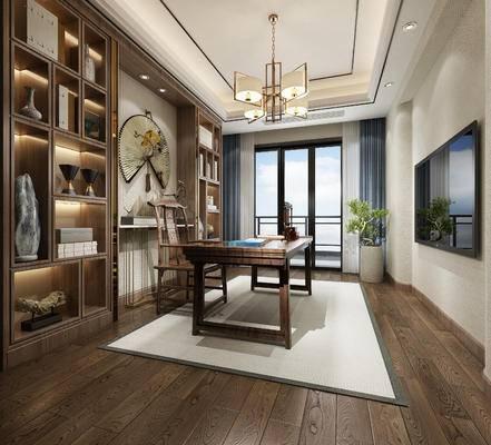 新中式书房, 书房, 书桌椅