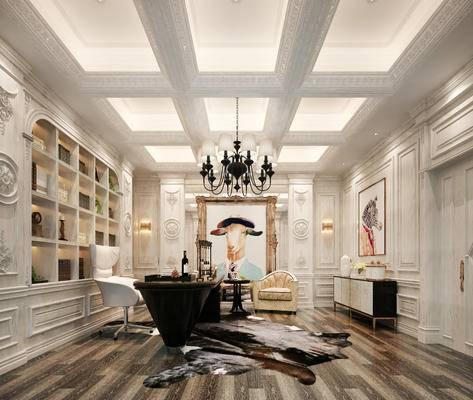 美式书房, 书房, 书桌椅