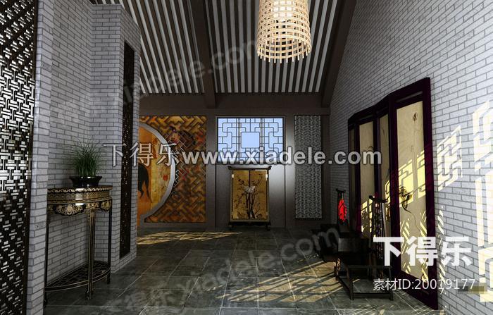 中式展厅字画贴图