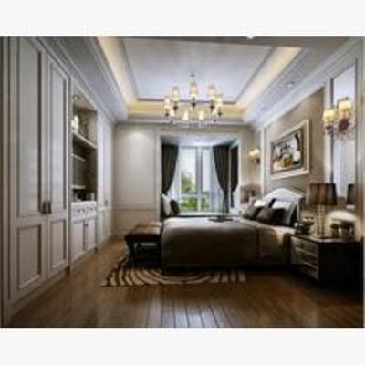 简欧, 卧室, 窗帘, 壁灯, 吊灯, 床, 床头柜, 台灯, 地毯, 置物柜, 衣柜