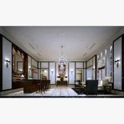 新中式, 客厅, 吊灯, 沙发, 挂画