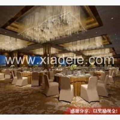 现代, 宴会厅, 餐桌, 椅子, 吊灯