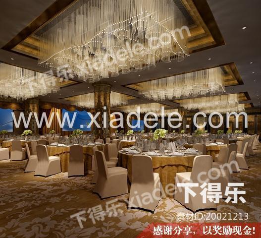 现代餐厅、大宴会厅 3D模型下载,餐厅