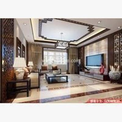 新中式, 客厅, 吊灯, 置物架, 餐桌椅