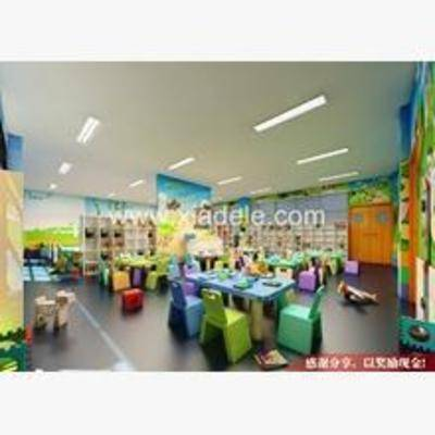 现代, 幼儿园, 椅子, 桌子, 墙饰
