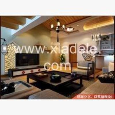 新中式, 客厅, 吊灯, 边柜, 电视