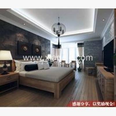新中式, 卧室, 吊灯, 墙饰, 窗帘, 地毯, 电视柜, 床头柜, 台灯