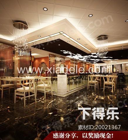 美式餐厅 3D模型下载,餐厅
