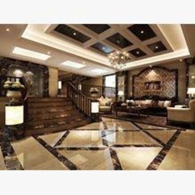 地下室, 美式, 吊灯, 沙发, 茶几, 楼梯, 扶手
