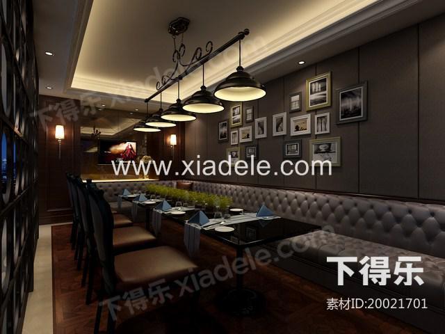 现代餐厅 3d模型下载,餐厅
