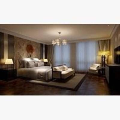 美式, 卧室, 吊灯, 窗帘, 墙饰, 台灯, 床头柜, 床, 电视柜, 落地灯