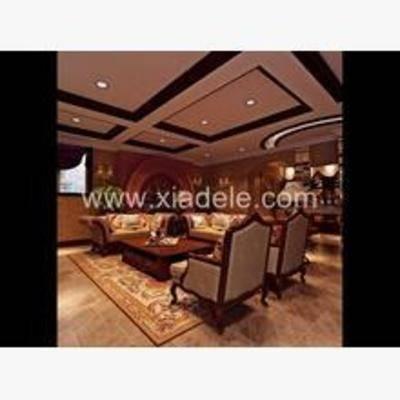 客厅, 欧式, 椅子, 沙发, 茶几, 灯