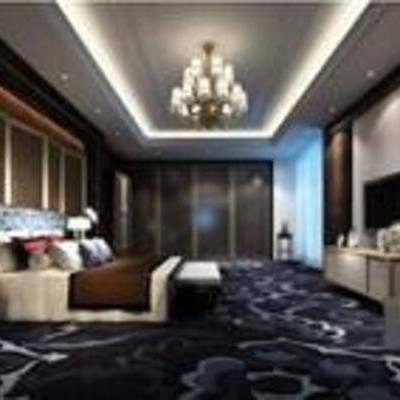 新中式, 卧室, 吊灯, 床, 床头柜, 台灯, 地毯, 落地灯, 电视柜, 衣柜