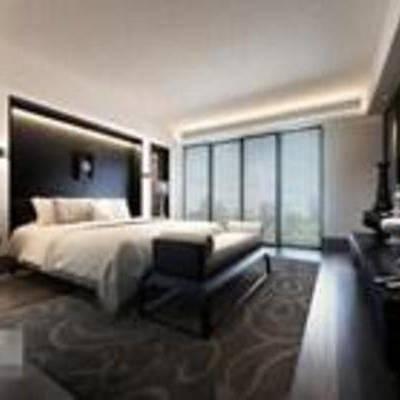 新中式, 卧室, 吸顶灯, 台灯, 窗帘, 地毯, 床, 电视柜, 置物柜, td床头柜, td床