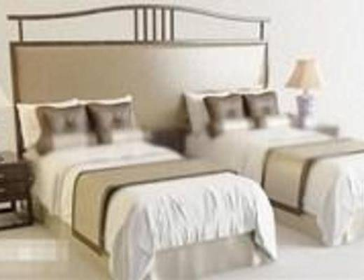 新中式, 卧室, 床, 床头柜, 台灯