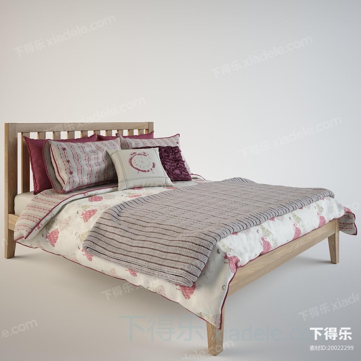 北欧简约木床具