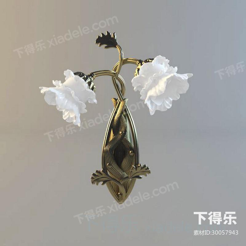 花朵造型金属壁灯_下得乐3d模型网xiadele.com