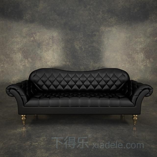 欧式菱形软包黑色皮革 沙发