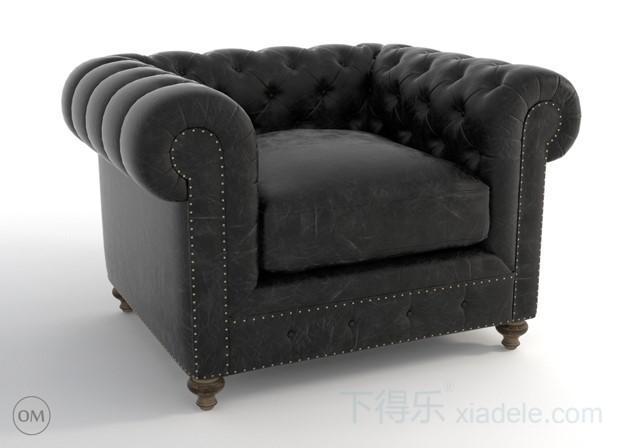 欧式黑色软包柳钉 沙发