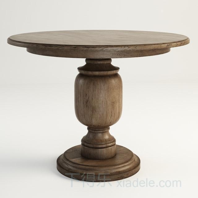 美式古典原木木质桌腿桌子2