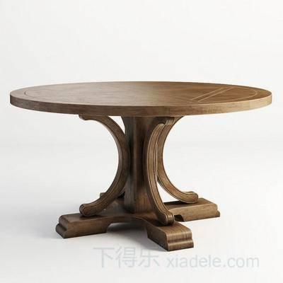 美式简约, 原木餐桌, 美式餐桌, 餐桌