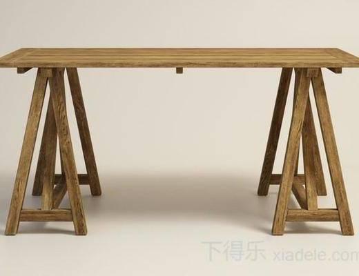 美式简约, 简约餐桌, 美式餐桌, 原木餐桌, 餐桌, 长木桌