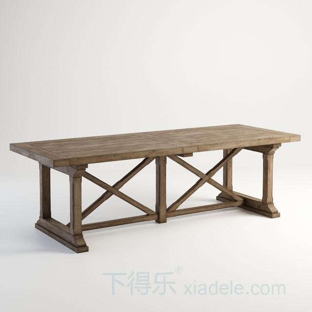 美式简约原木长木桌2
