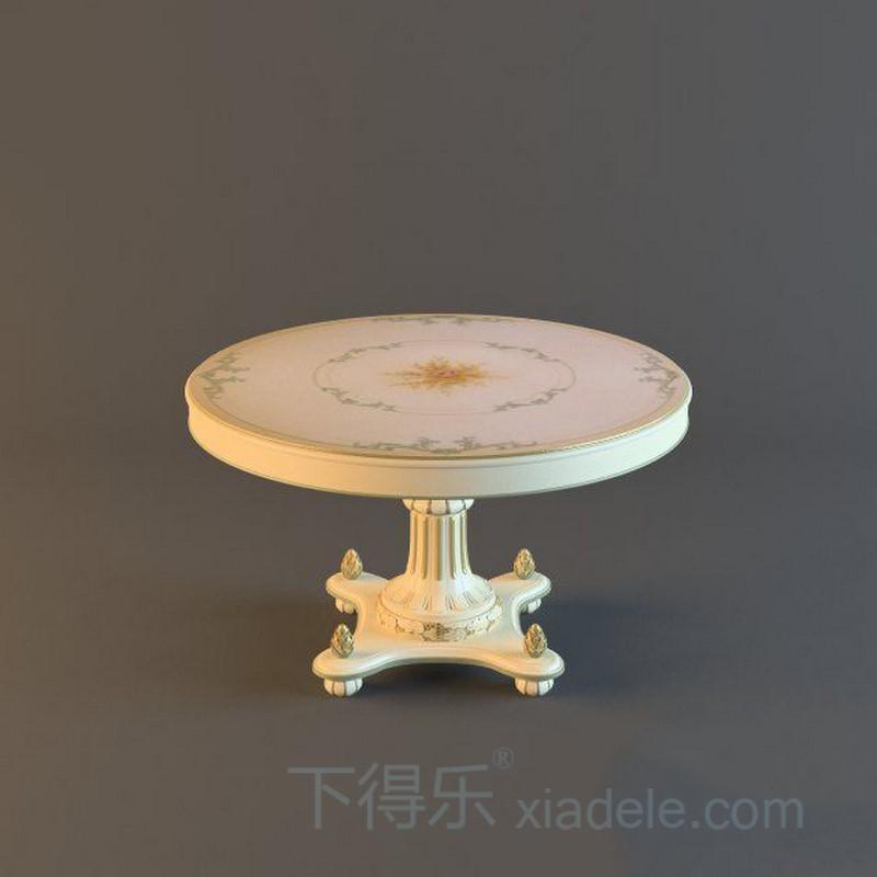 欧式古典圆形米色桌子