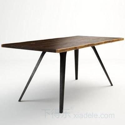 现代餐桌, 工业风, 原木桌面, 金属桌腿, 餐桌, 桌子