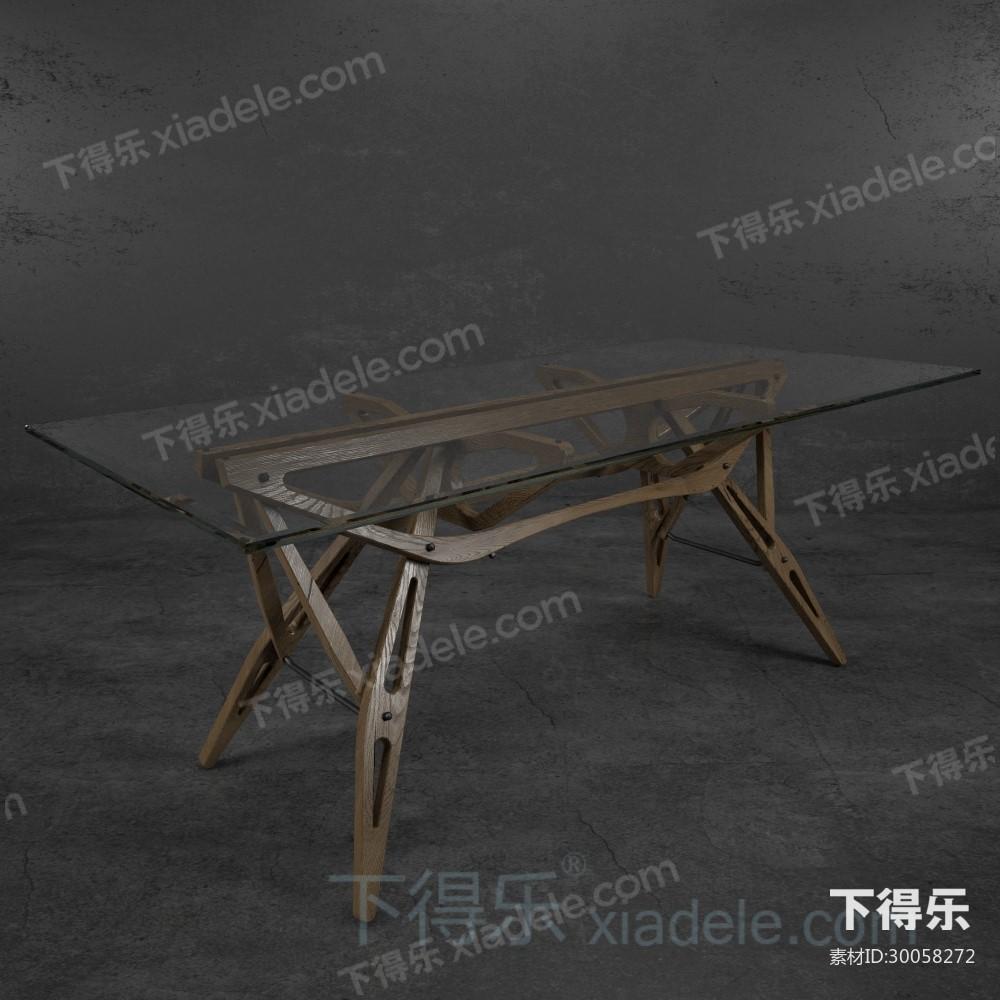 现代工艺创意木质桌脚玻璃桌
