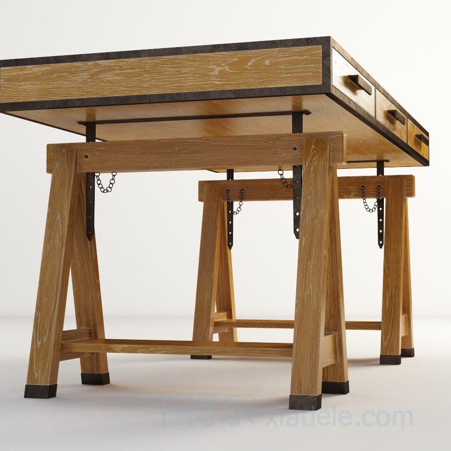 现代工艺复古木质可调节餐桌