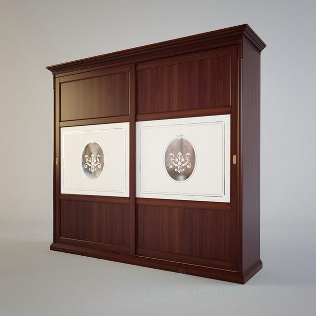 欧式古典风格双推门一字型衣柜1