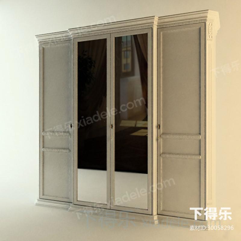欧式古典风格一字型衣柜