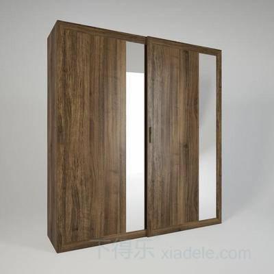 现代简约, 简约, 原木衣柜, 双推门衣柜, 简约衣柜