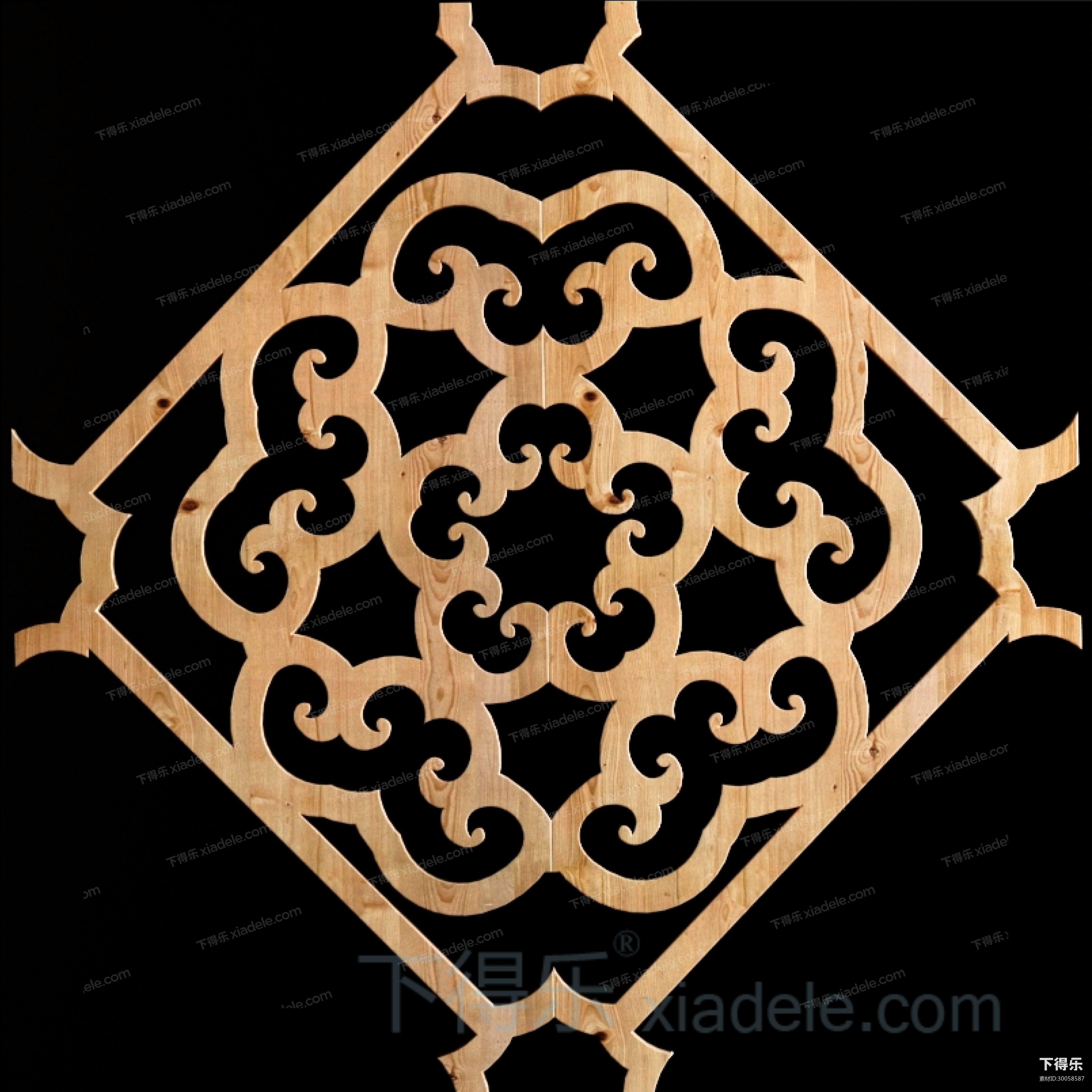 中式花纹镂空隔断装饰