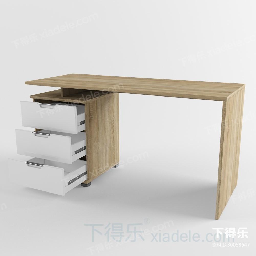 现代工艺都市简约原木办公桌5