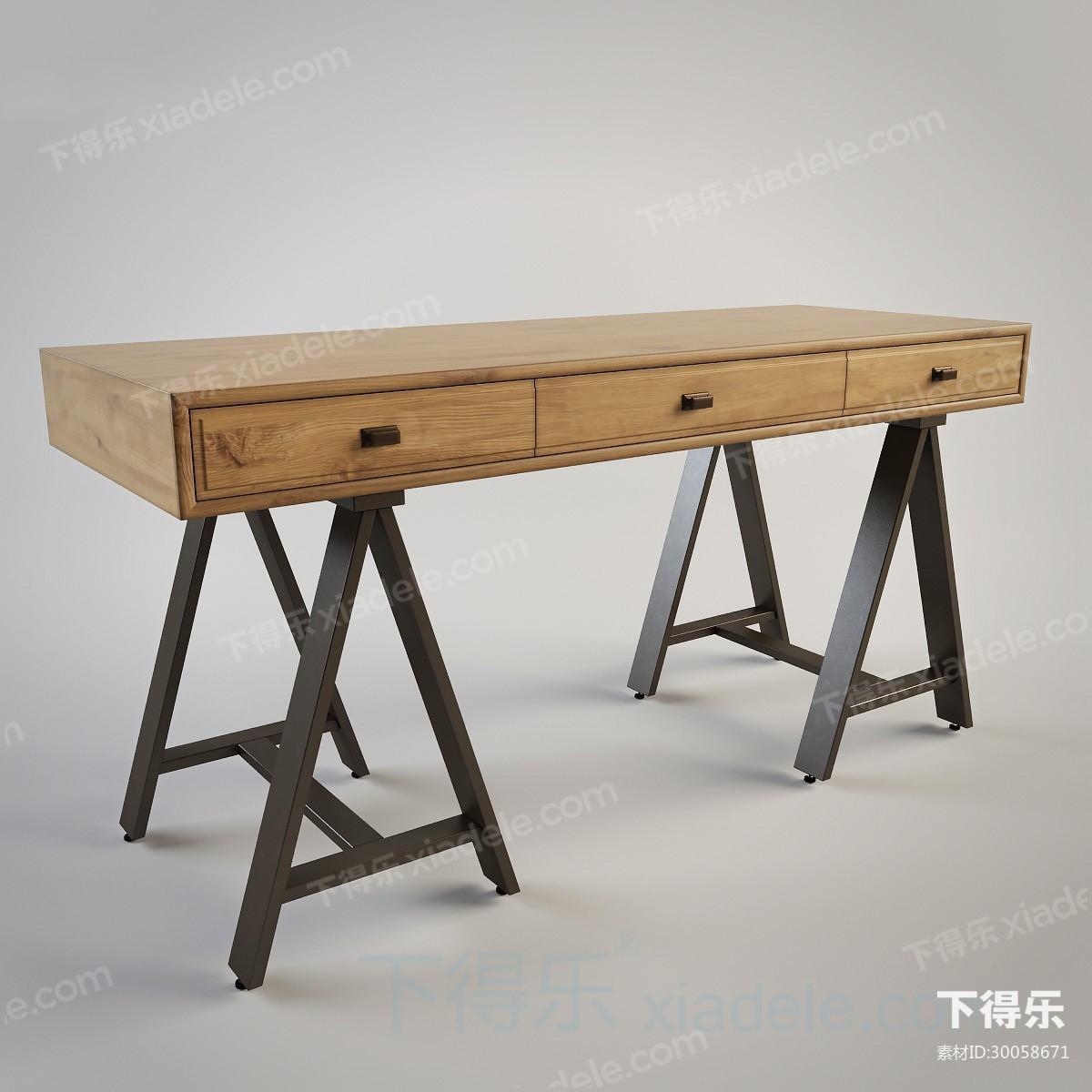 现代工艺都市简约原木办公桌17