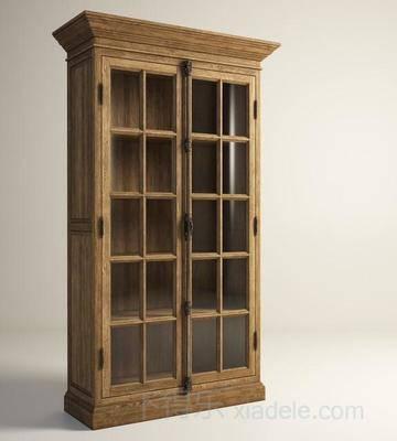 博物柜, 收藏柜, 酒品展柜, 红酒柜, 酒柜, 玻璃, 双开门, 美式简约, 原木酒柜, 简约酒柜