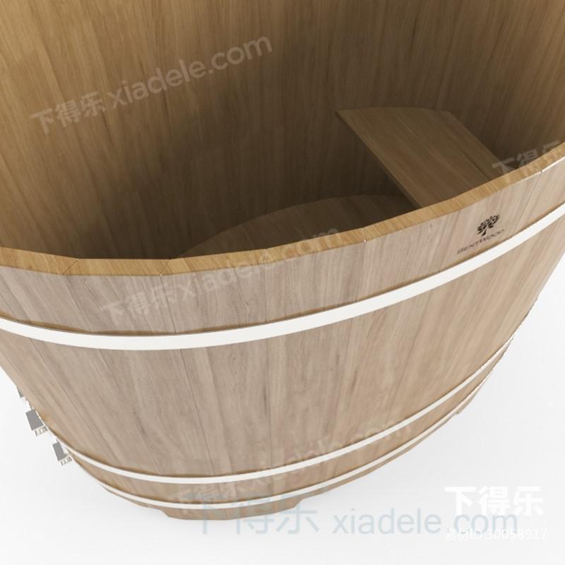 复古木浴桶_下得乐3d模型网xiadele.com