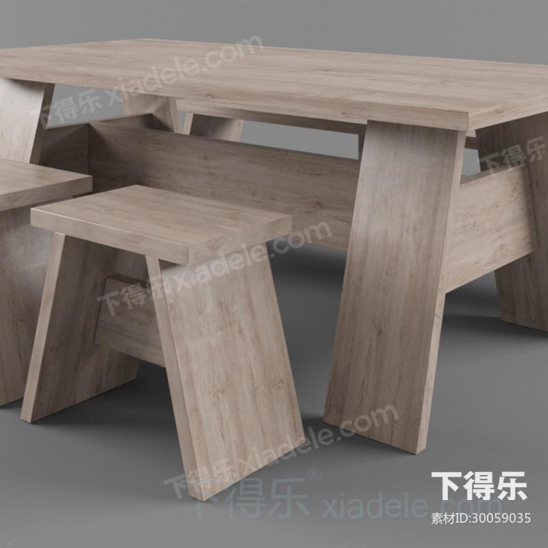 简约原木长桌长椅凳_3d模型下载