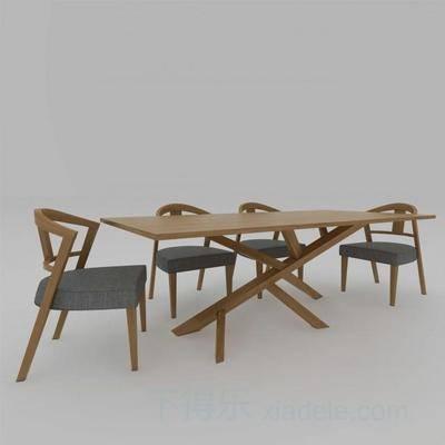沙发椅子, 木桌, 原木椅子, 餐桌椅子, 现代, 下得乐3888套模型合辑