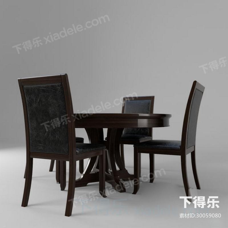 新中式圆形餐桌椅子
