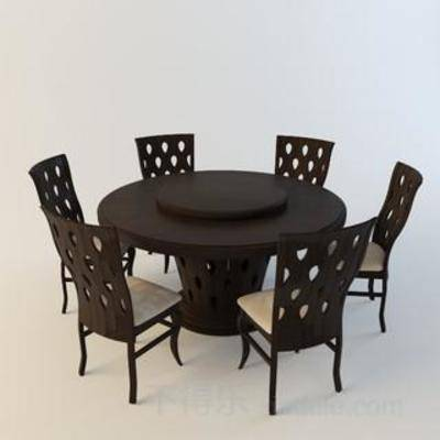 桌椅组合, 木椅, 木桌, 原木椅子, 餐桌椅子, 休闲餐桌椅子, 旋转桌子, 现代