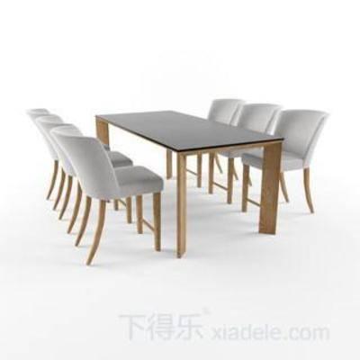 桌椅组合, 木椅, 木桌, 原木椅子, 餐桌椅子, 休闲餐桌椅子, 现代, 下得乐3888套模型合辑