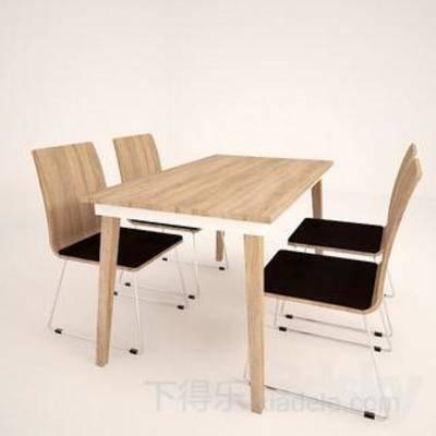 桌椅组合, 木椅, 皮革椅子, 木桌, 原木椅子, 餐桌椅子, 休闲餐桌椅子, 现代, 下得乐3888套模型合辑