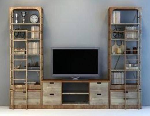 loft, 书架, 书籍, 书柜, 电视柜, 工业风