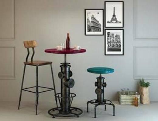 模型, 桌椅组合, 木椅, 吧椅, 木桌, loft, 餐桌椅子, 休闲餐桌椅子, 木椅子, 工业风