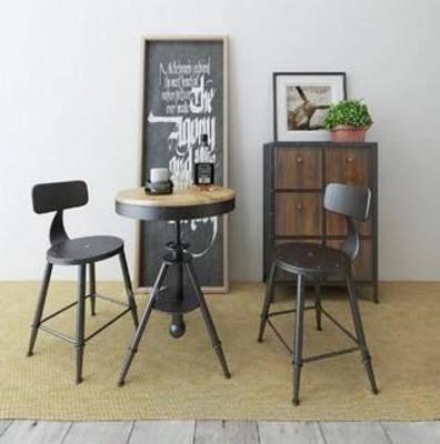 桌椅组合, 木椅, 吧椅, 木桌, 原木椅子, 餐桌椅子, 休闲餐桌椅子, 玻璃桌子, 工业风